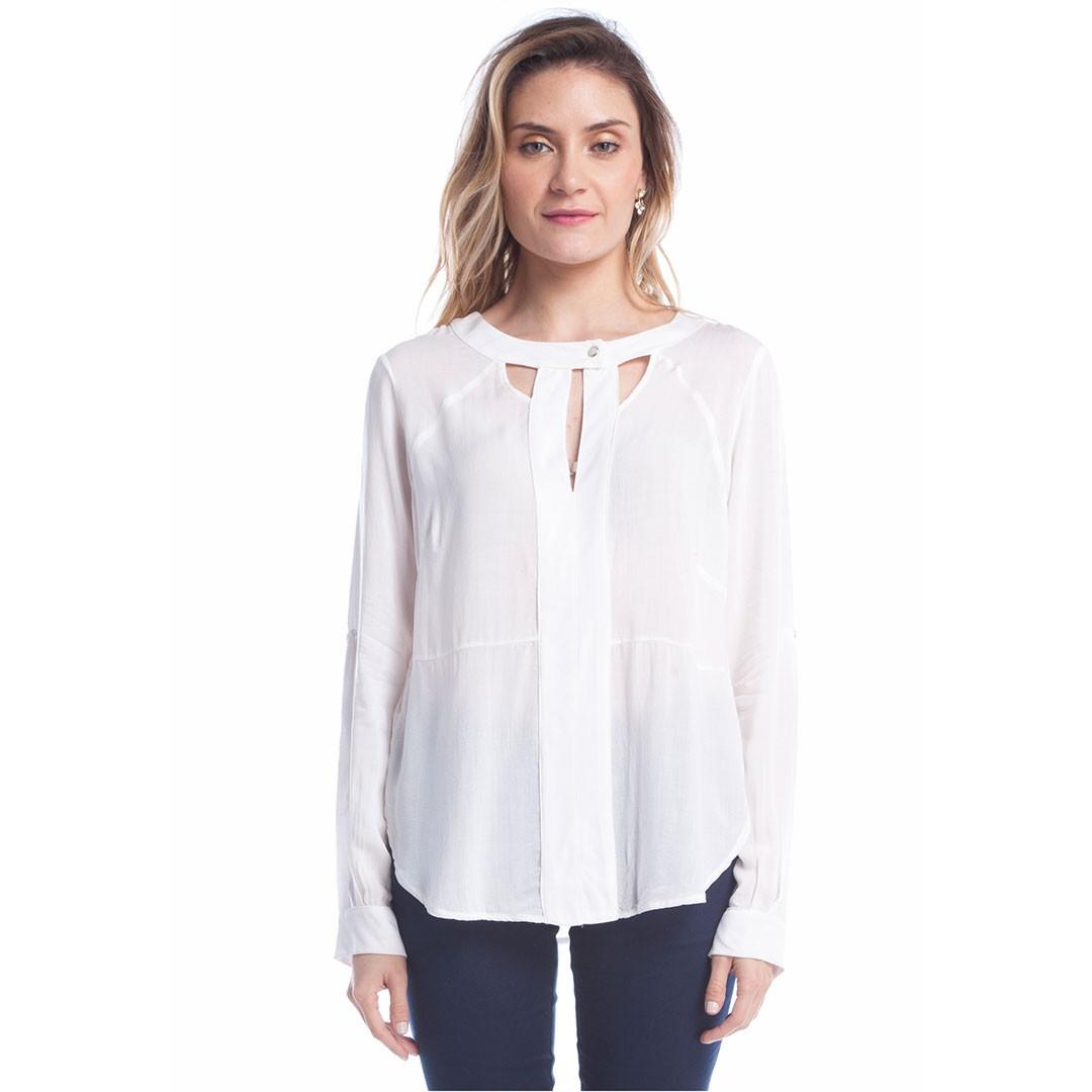 Camisa Manga longa abertura no pescoço - Branco
