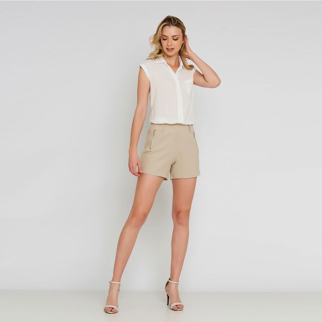 Camisa viscose cavada - Off White