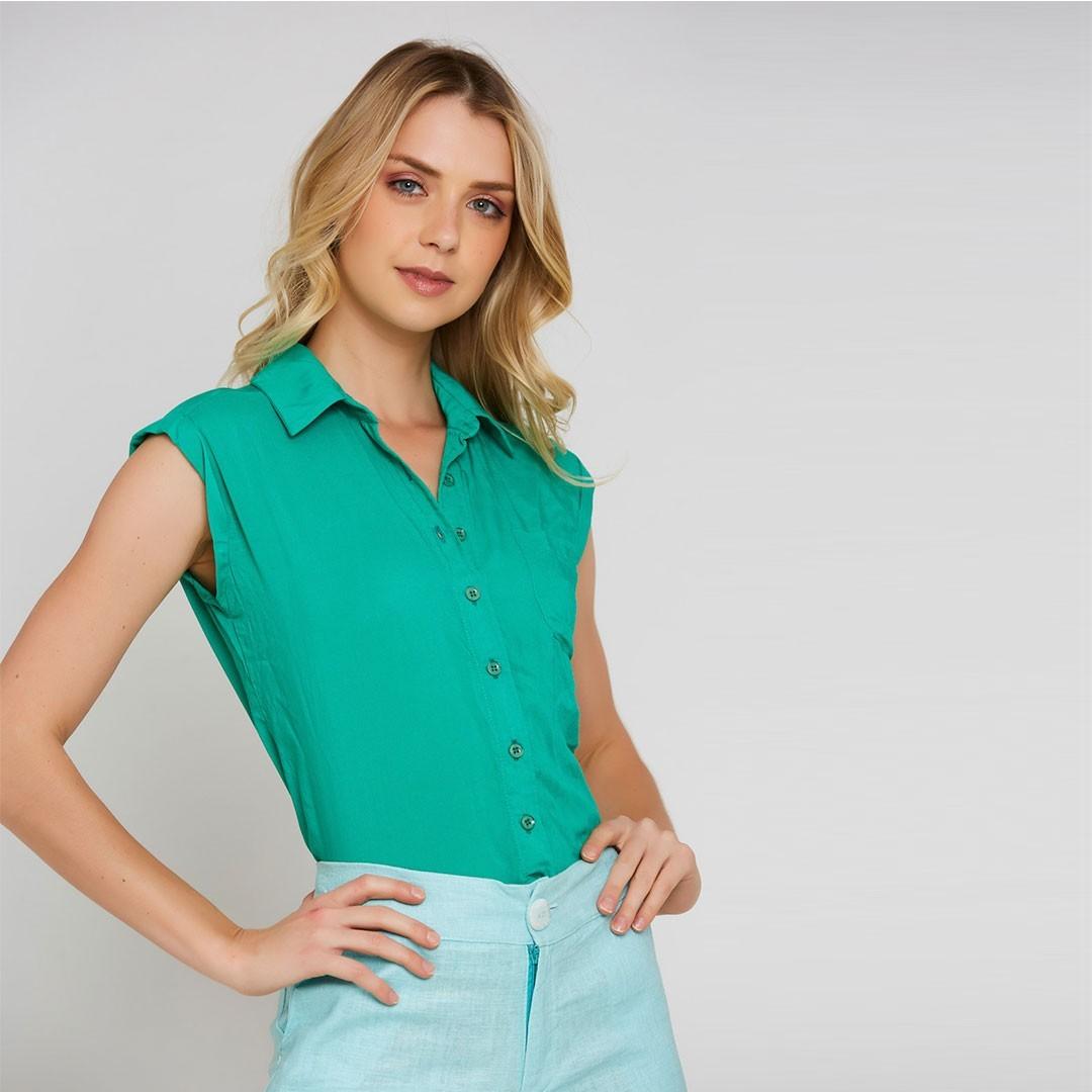 Camisa viscose cavada - Verde