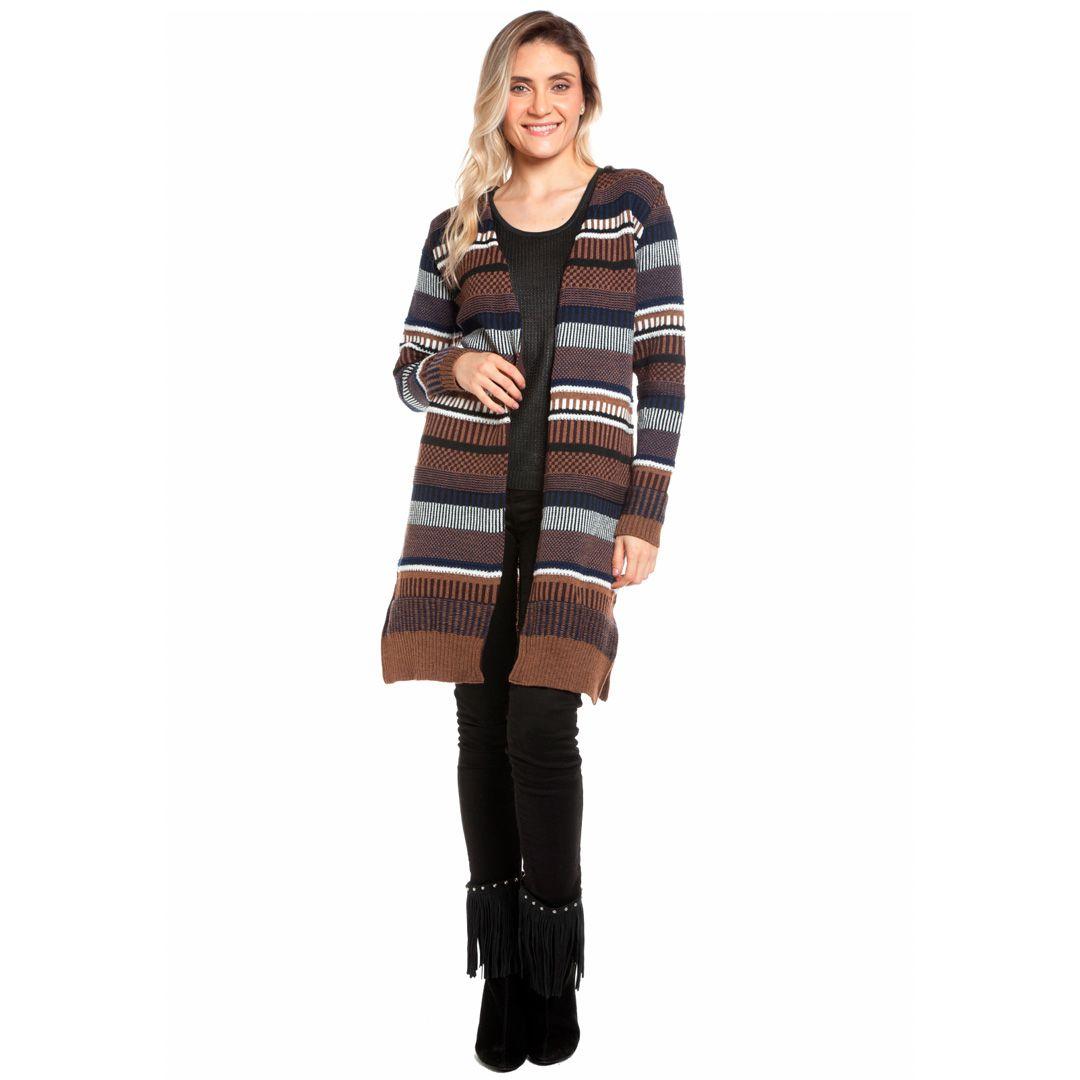 Casaco jacard multicolorido - Marrom