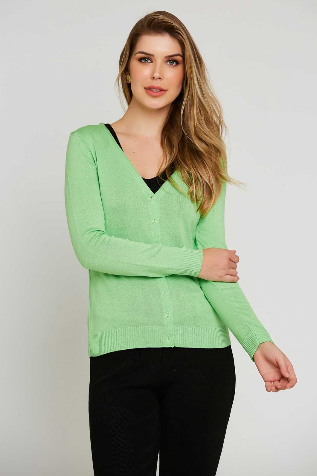 Casaco Ralm tricot com botões - Verde