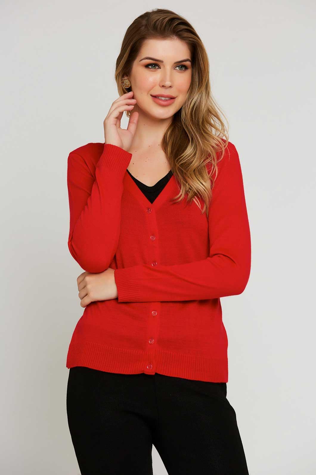 Casaco Ralm tricot com botões - Vermelho