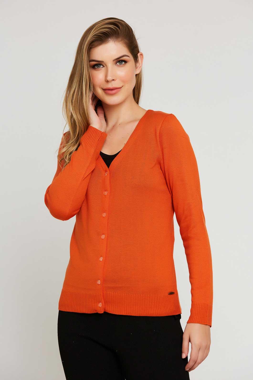 Casaco Ralm tricot com botões - Laranja