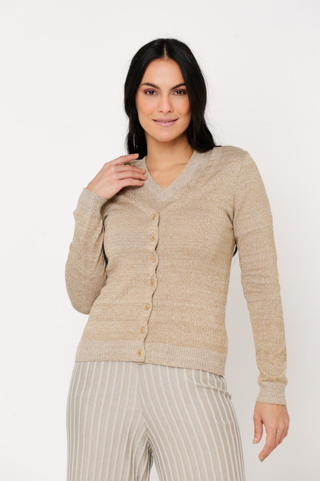Casaco Ralm tricot com botões - Bege Mescla
