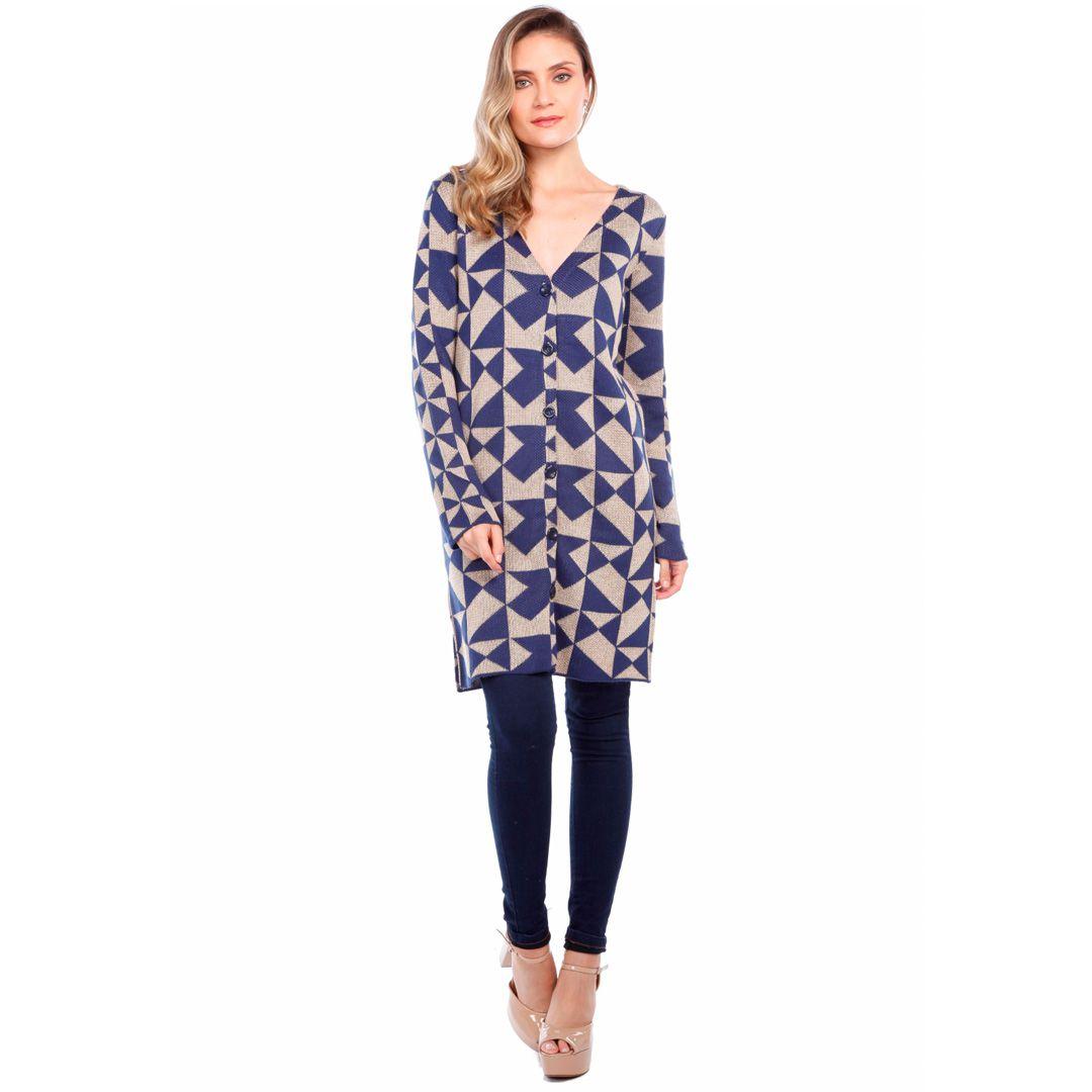 Casaco tricot geométrico - Azul