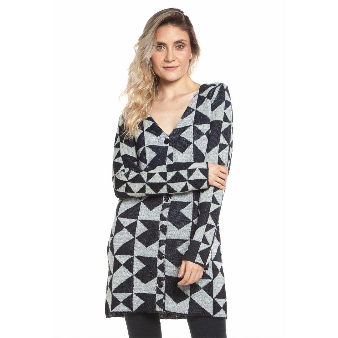 Casaco tricot geométrico - Preto