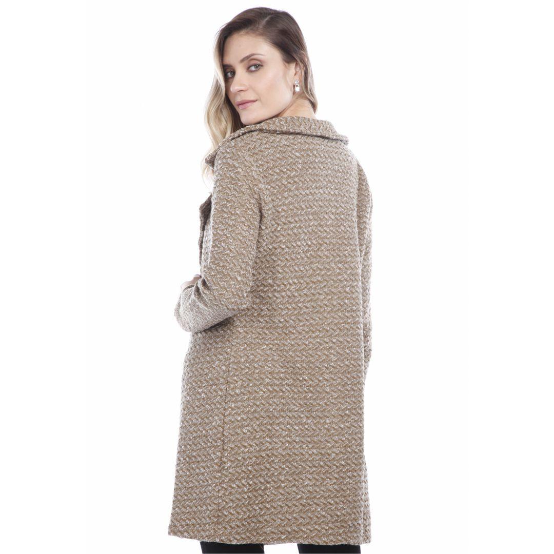 Casaco tweed corte alfaiataria - Bege