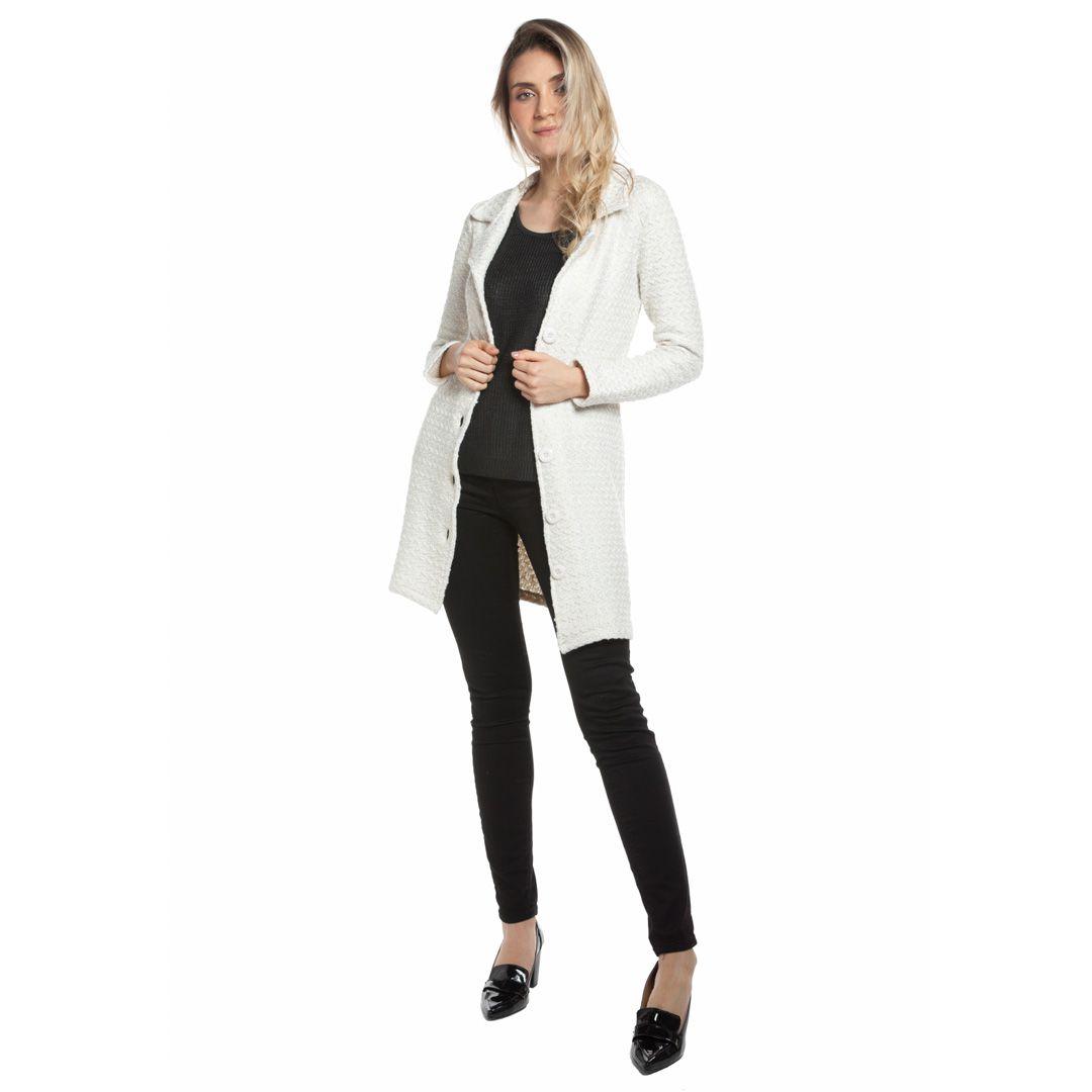 Casaco tweed corte alfaiataria - Off White