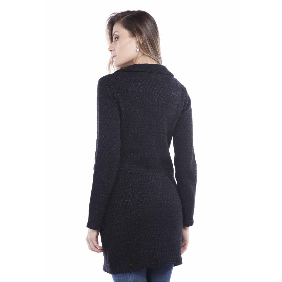 Casaco tweed corte alfaiataria - Preto