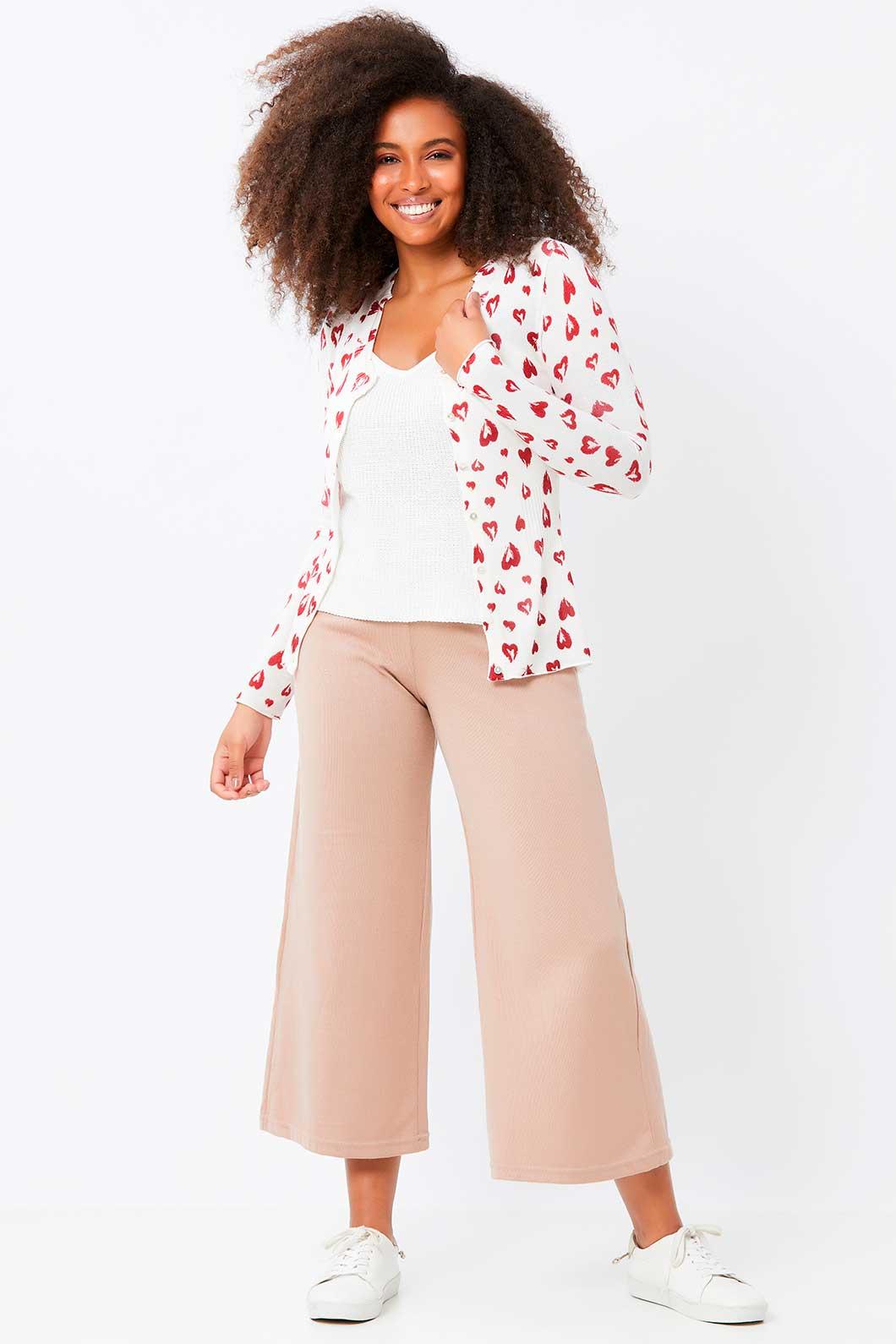Casaqueto Ralm de tricot corações e botões - Branco