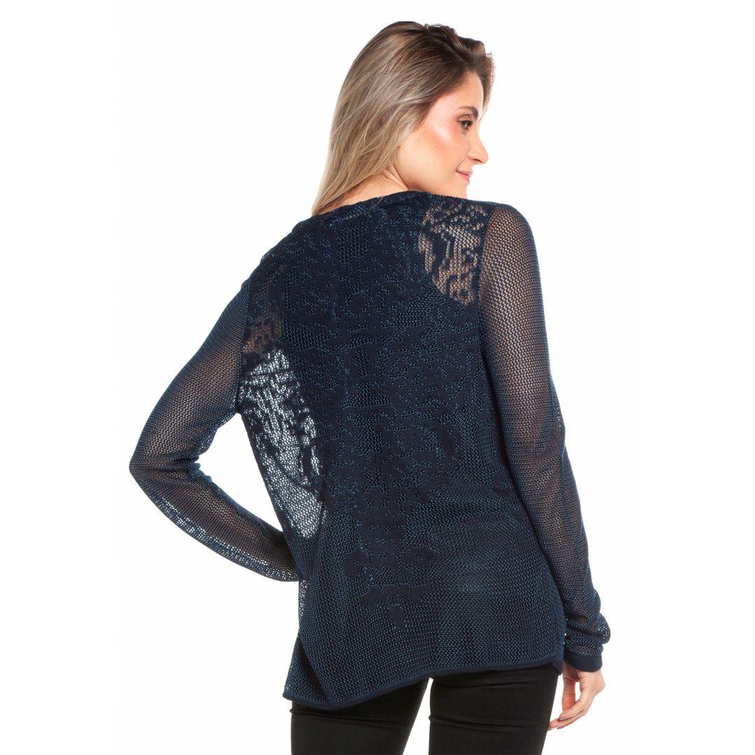 Casaqueto rendado floral costas - Marinho