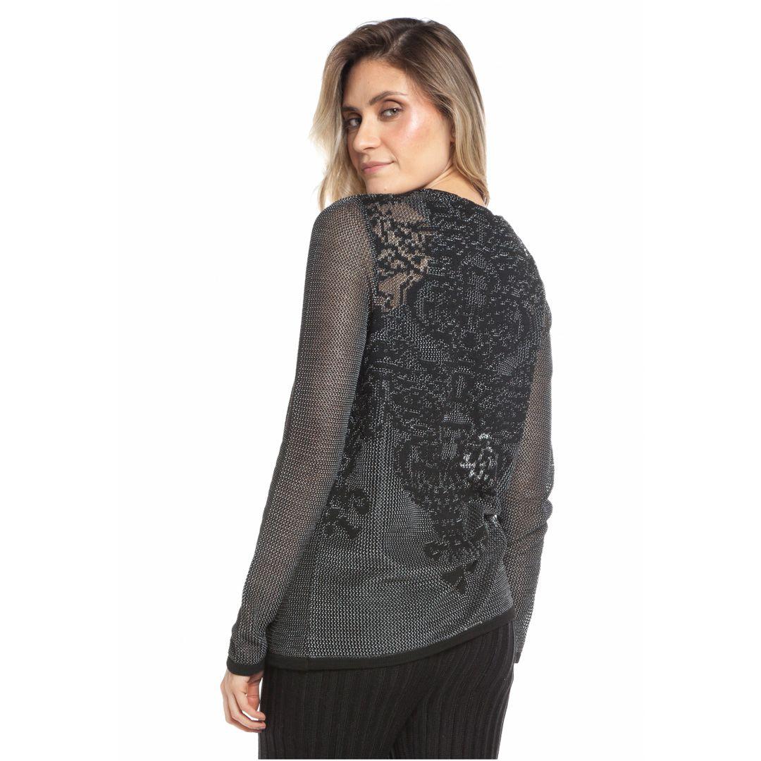 Casaqueto rendado floral costas - Preto