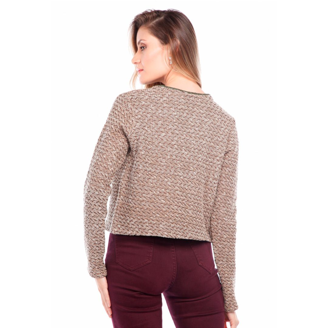 Casaqueto Tricot Tweed - Bege