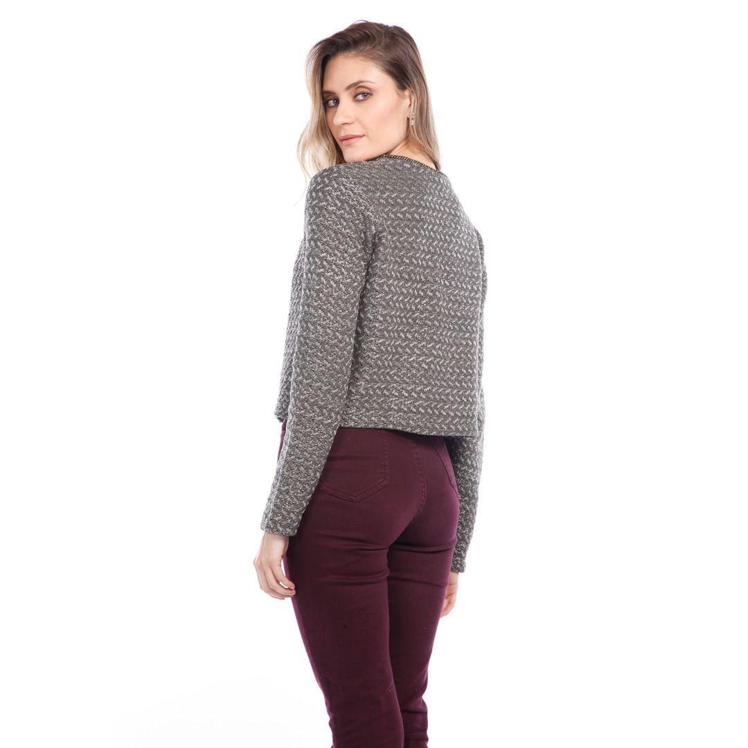 Casaqueto Tricot Tweed - Cinza