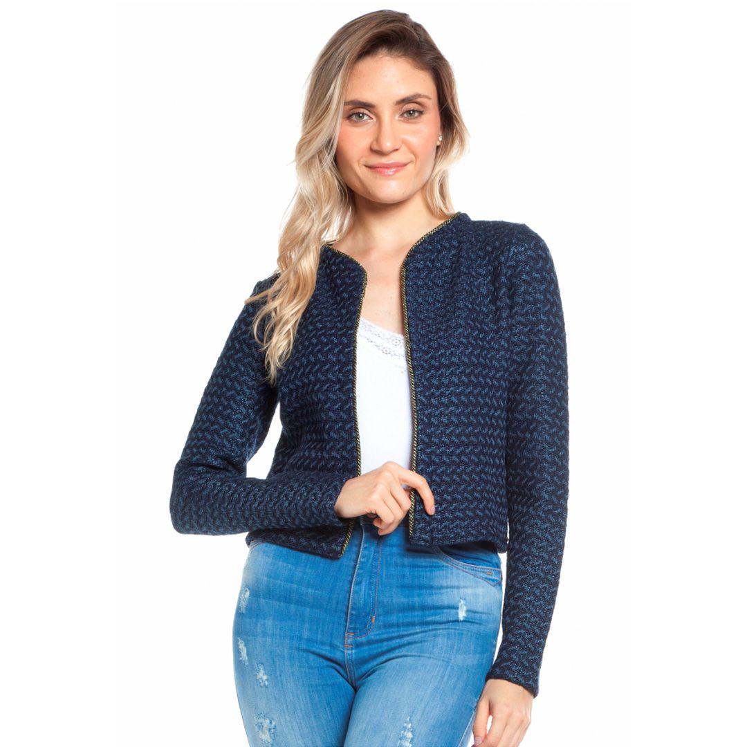 Casaqueto Tricot Tweed - Marinho