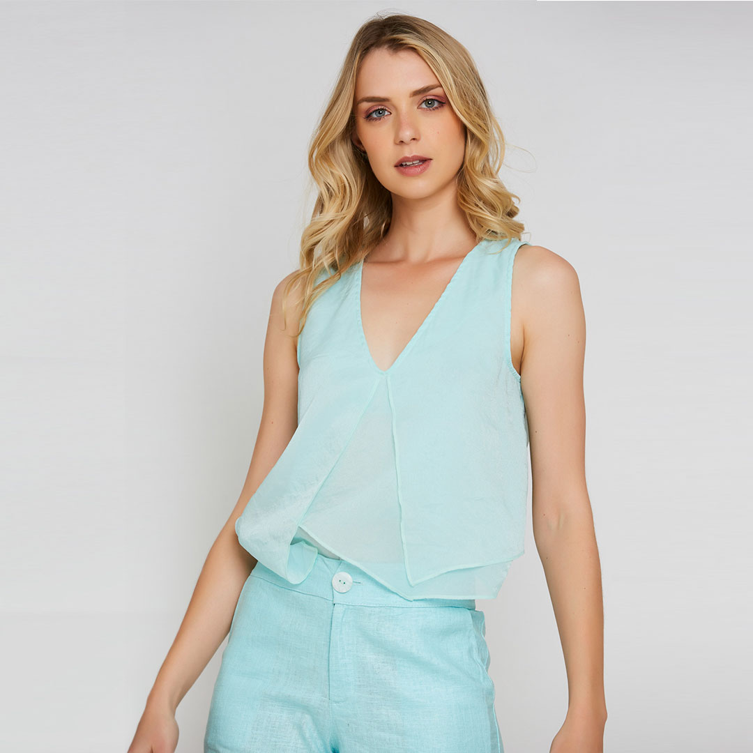Conjunto de Tecido Blusa + Shorts - Verde