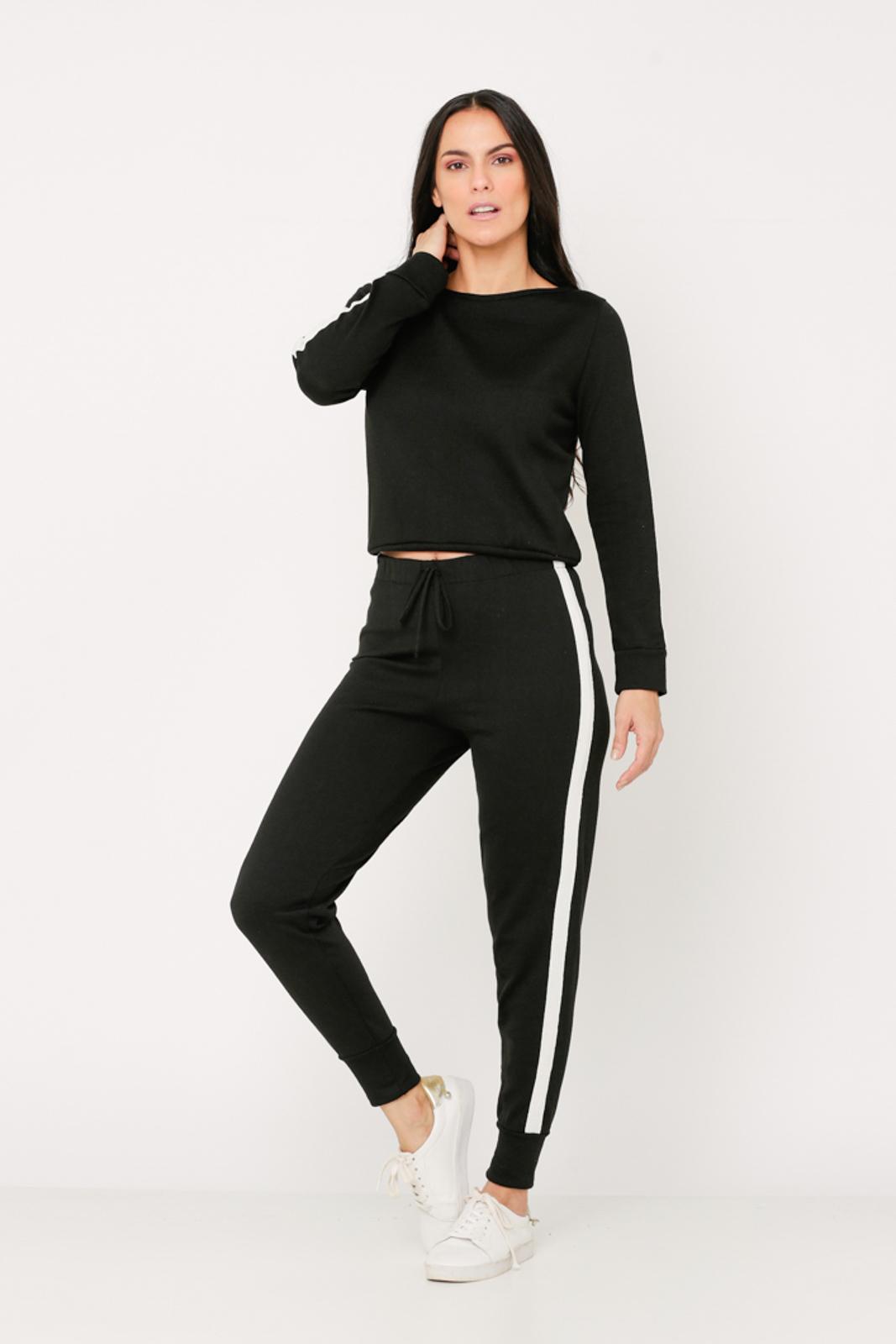 Conjunto de Tricot calça jogger e blusa manga longa de faixa lateral - Preto