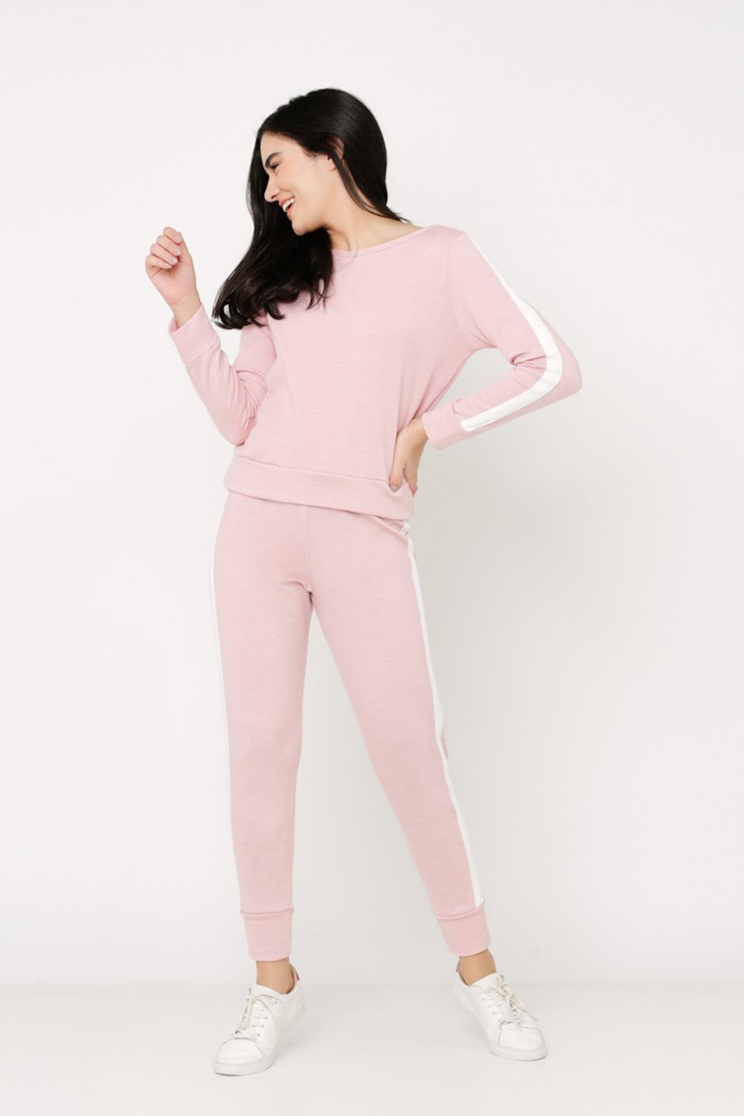 Conjunto de Tricot calça jogger e blusa manga longa de faixa lateral - Rosa
