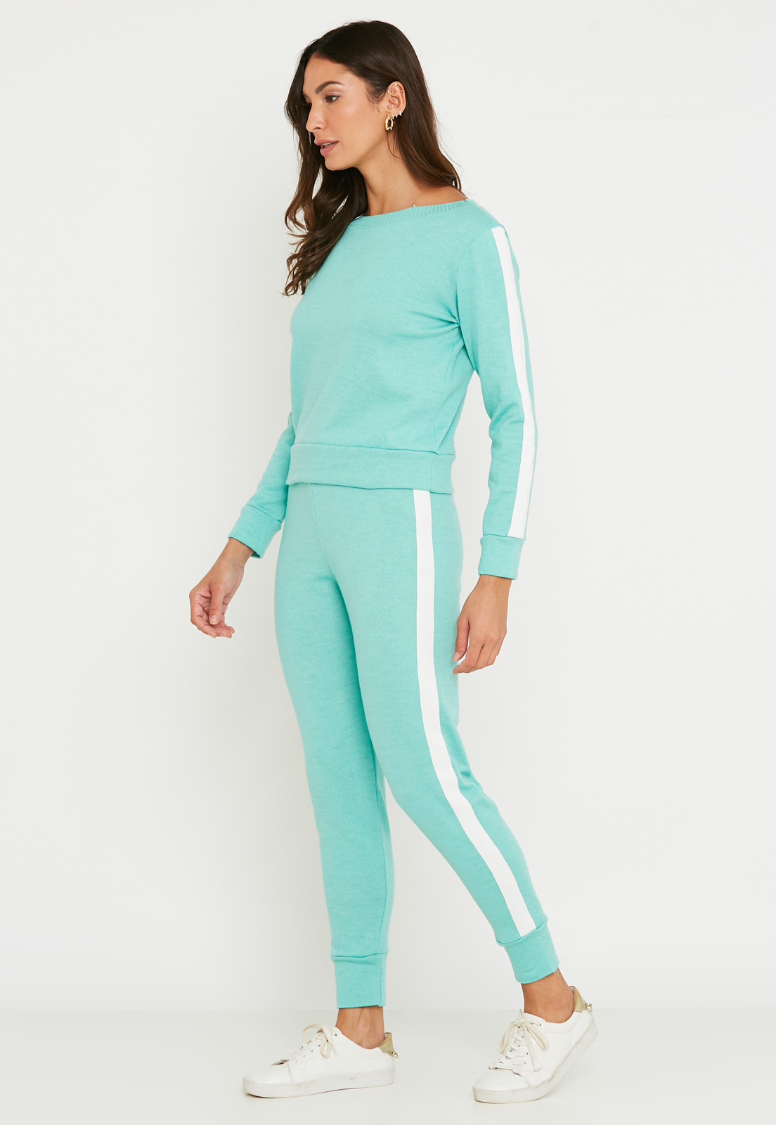 Conjunto de Tricot calça jogger e blusa manga longa de faixa lateral - Verde Claro