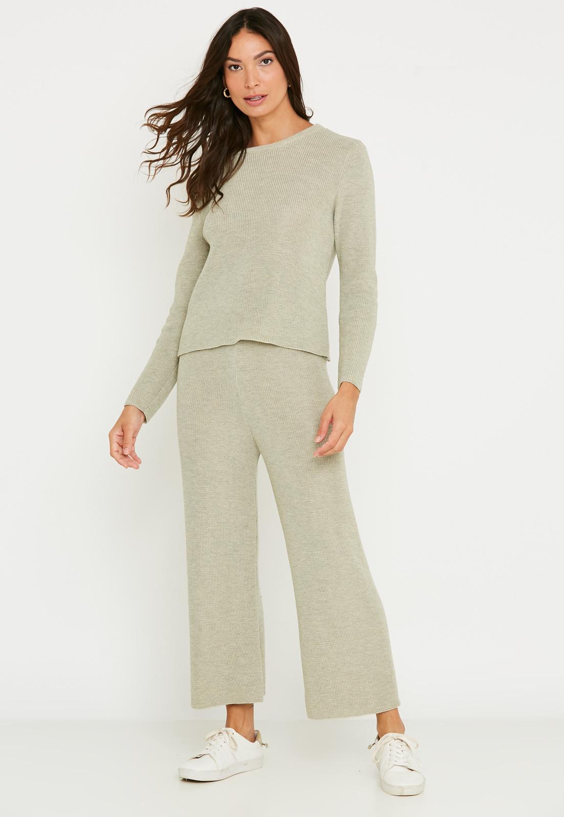 Conjunto de tricot calça pantalona e blusa manga longa - Bege