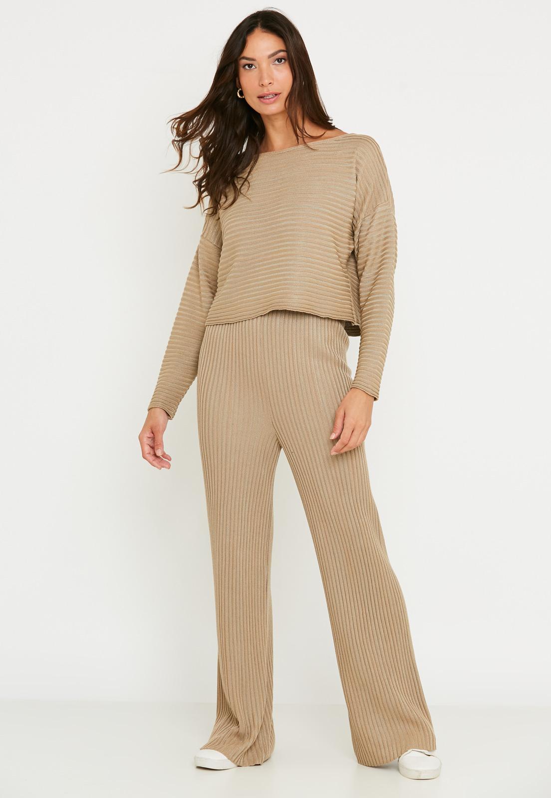 Conjunto de Tricot calça pantalona e blusa manga longa canelado - Bege