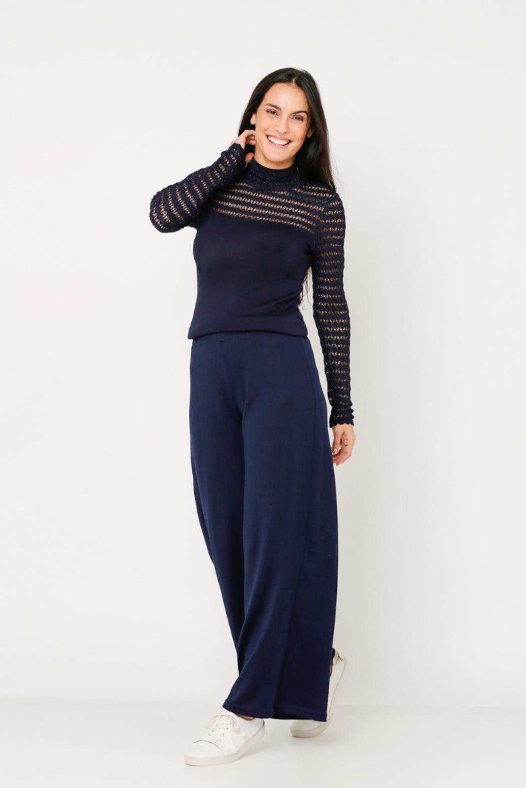 Conjunto de tricot Ralm calça pantalona e blusa gola alta trabalho rendado - Marinho