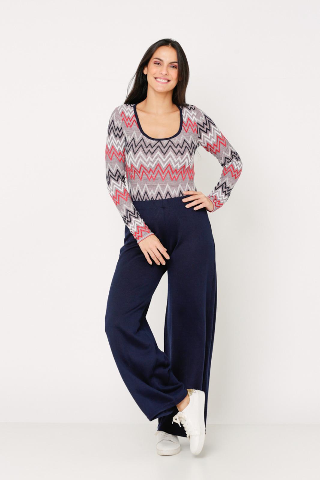 Conjunto de tricot Ralm calça pantalona e body zig zag - Marinho