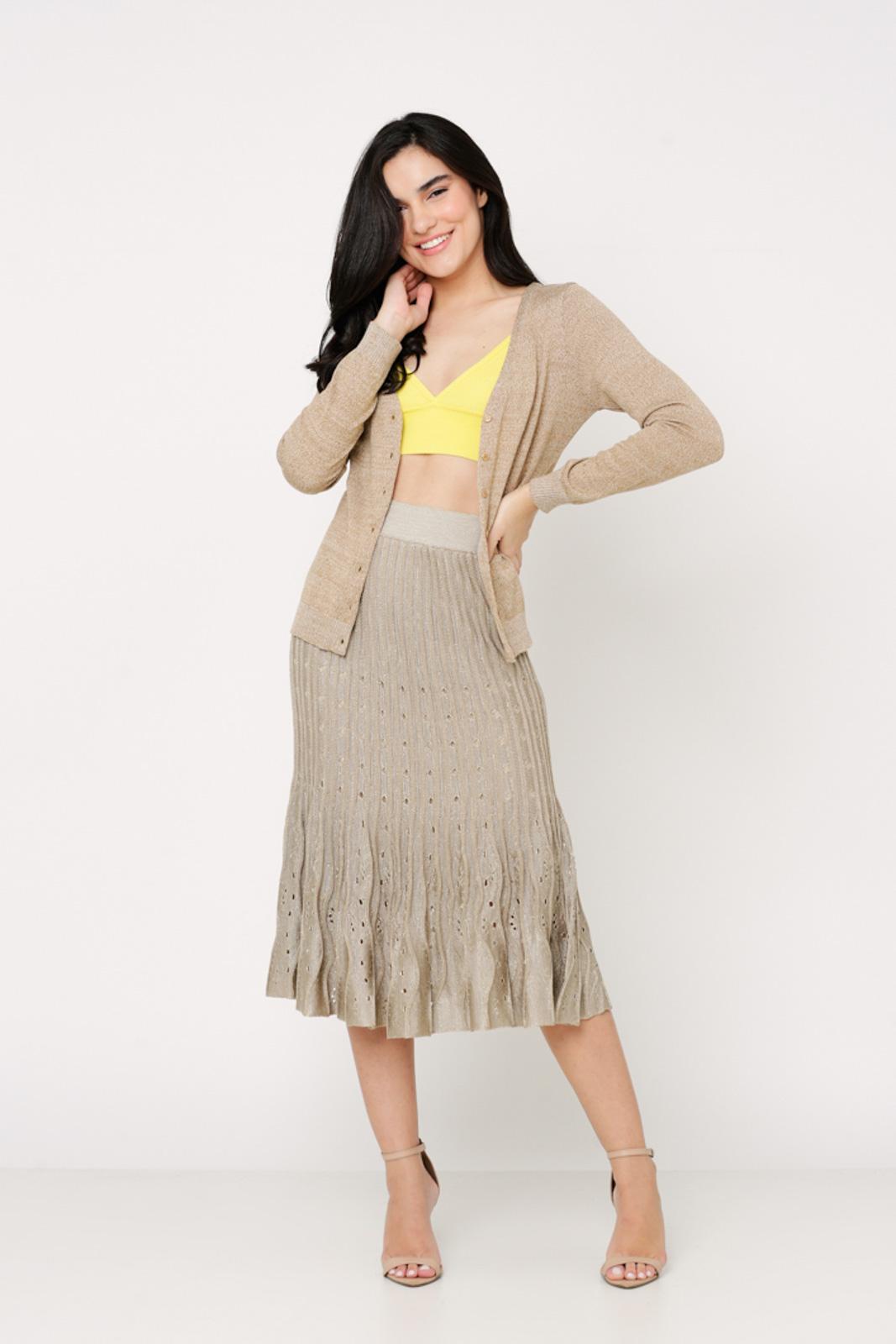 Conjunto de tricot Ralm saia midi nervuras com top e casaco básico botões - Dourado