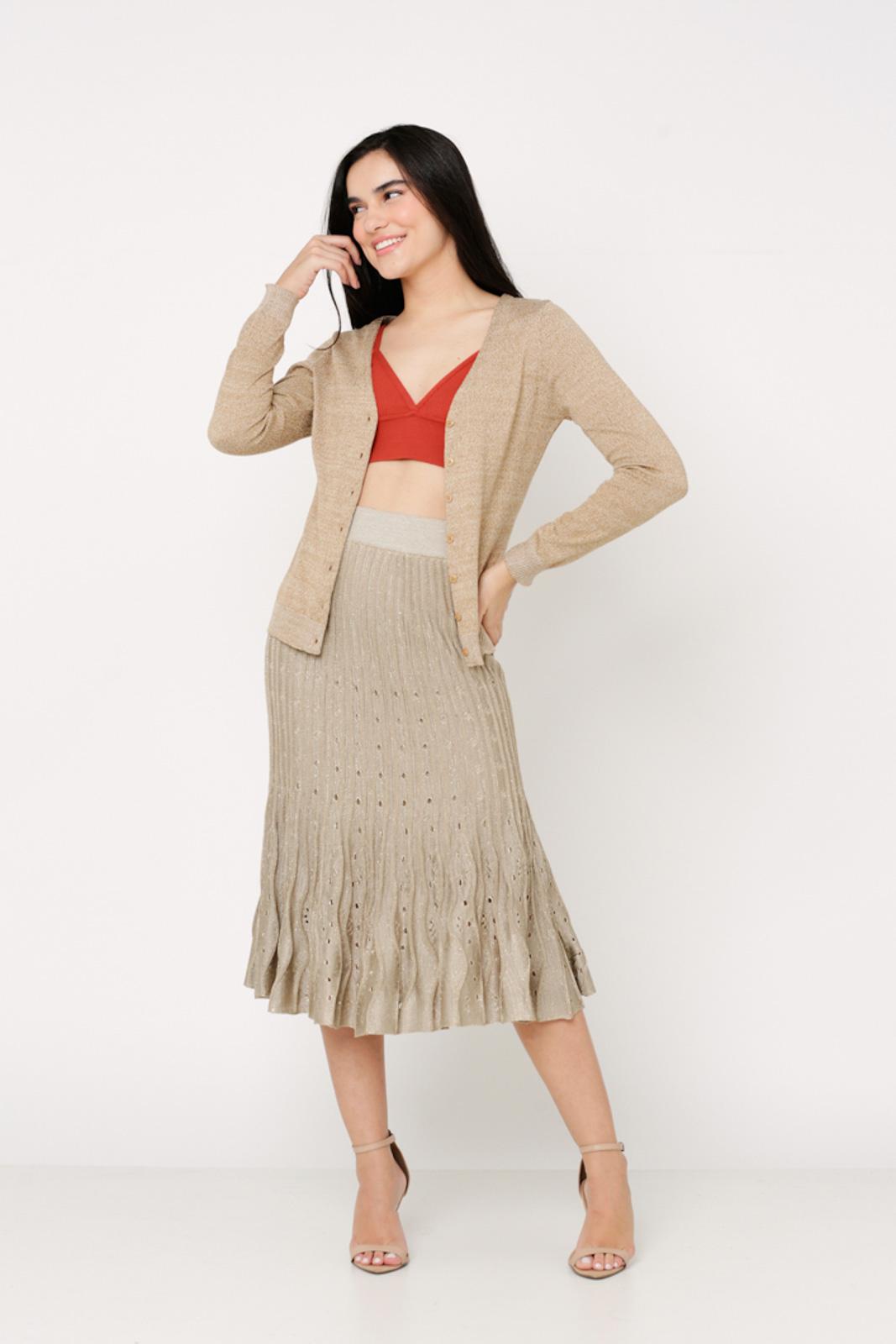 Conjunto de tricot Ralm saia midi nervuras com top e casaco básico botões - Laranja