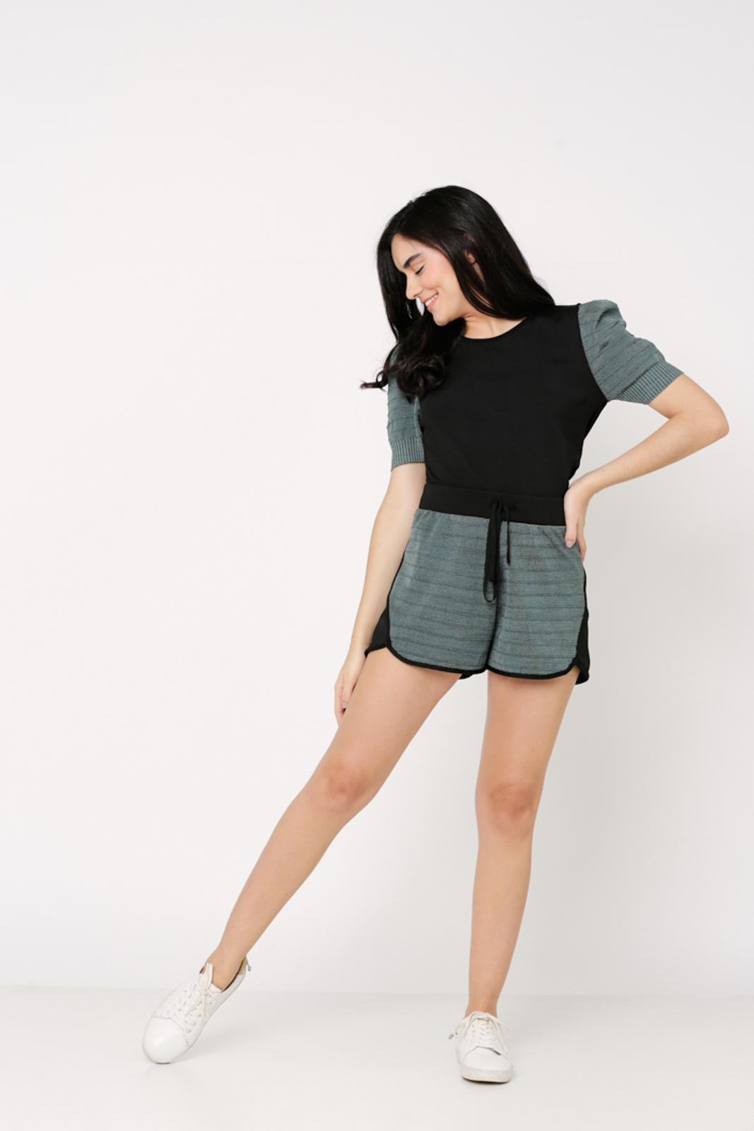 Conjunto de tricot Ralm shorts e blusa manga bufante - Verde