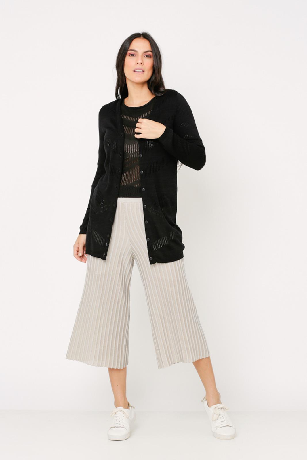 Conjunto de tricot Ralm twinset  pontilhado - Preto