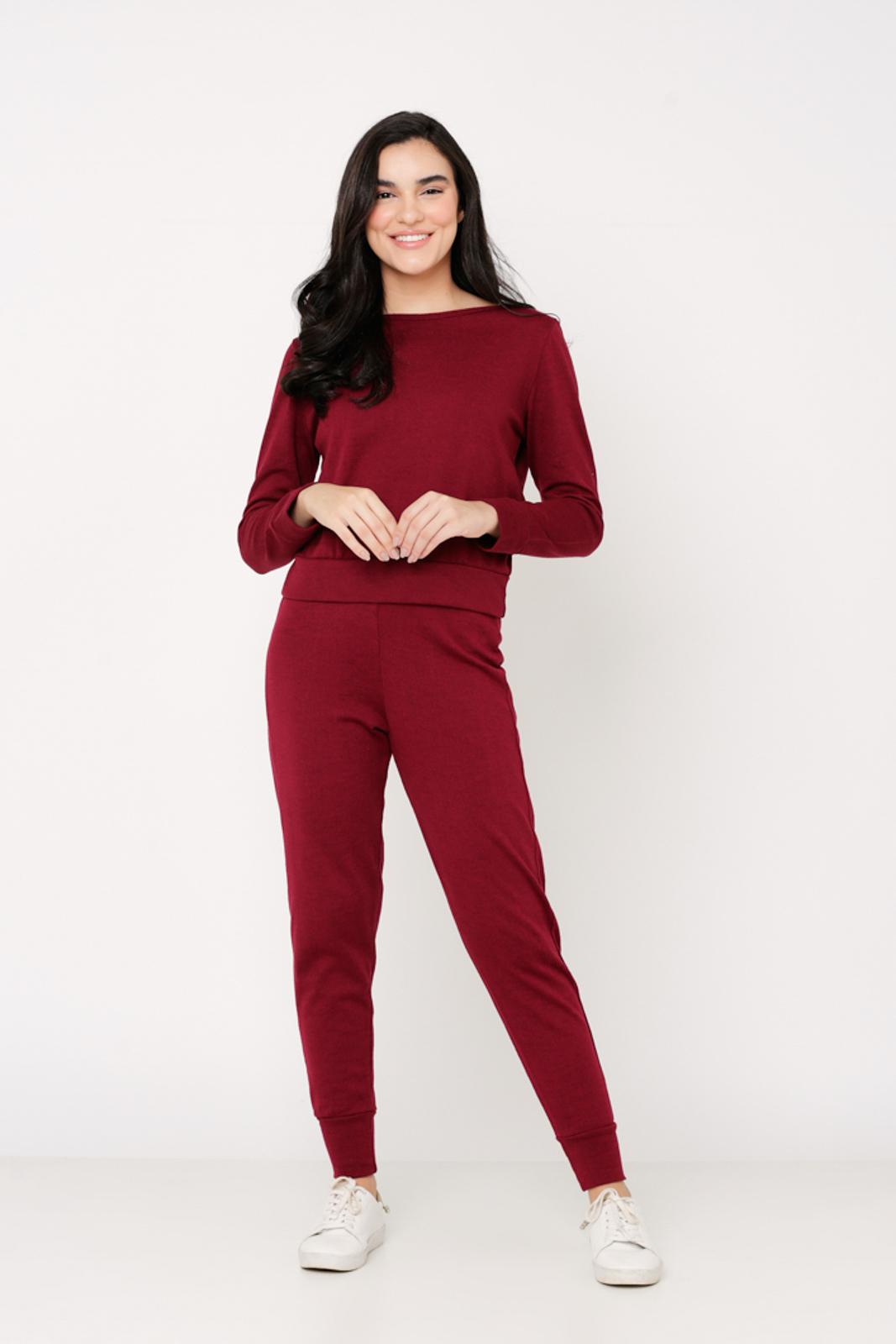 Conjunto Ralm Tricot  blusa manga longa e calça jogger - Vinho