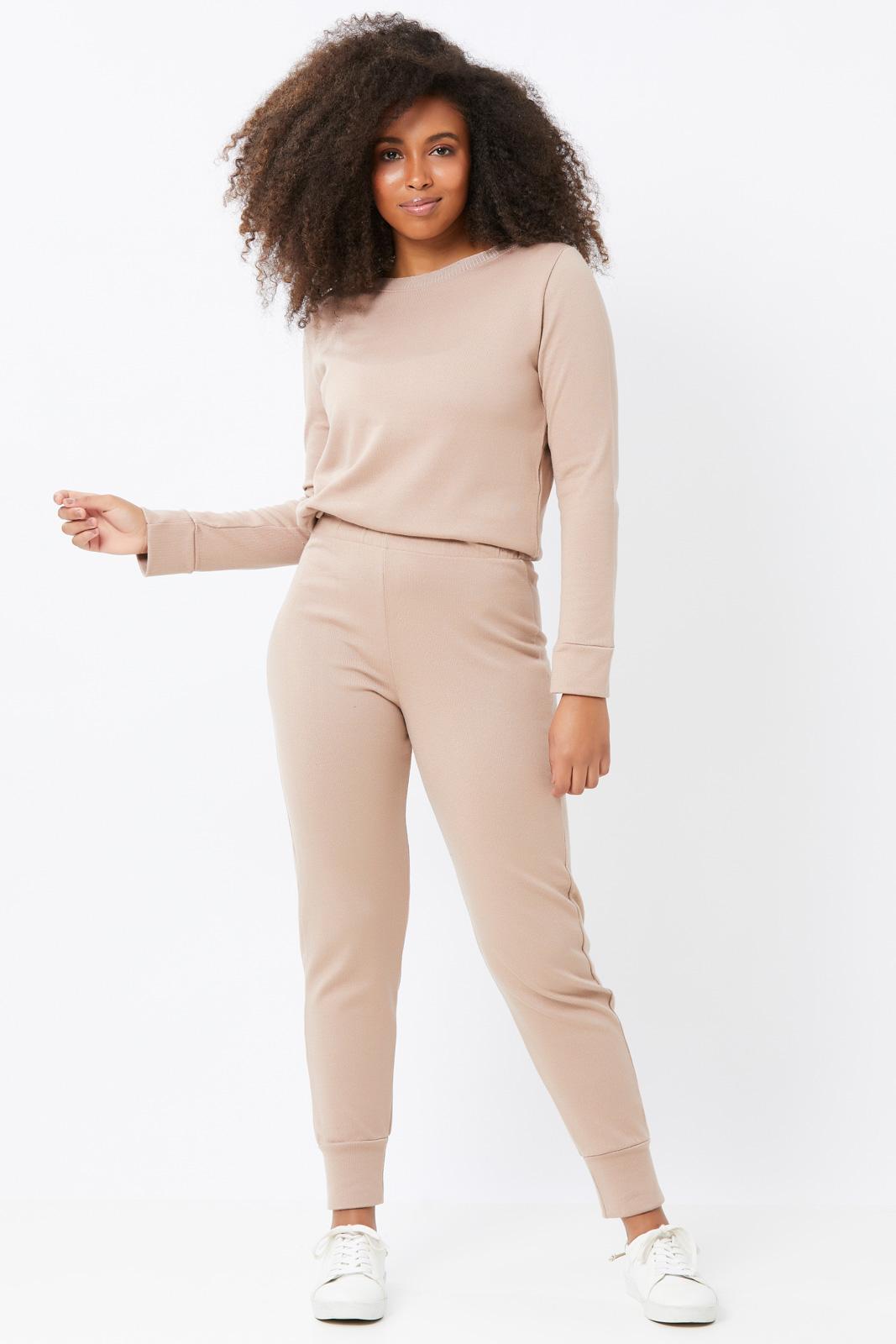 Conjunto Ralm Tricot  blusa manga longa e calça jogger - Rosa