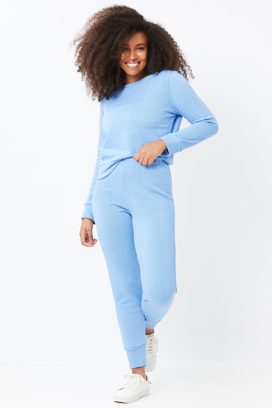 Conjunto Ralm Tricot  blusa manga longa e calça jogger - Azul