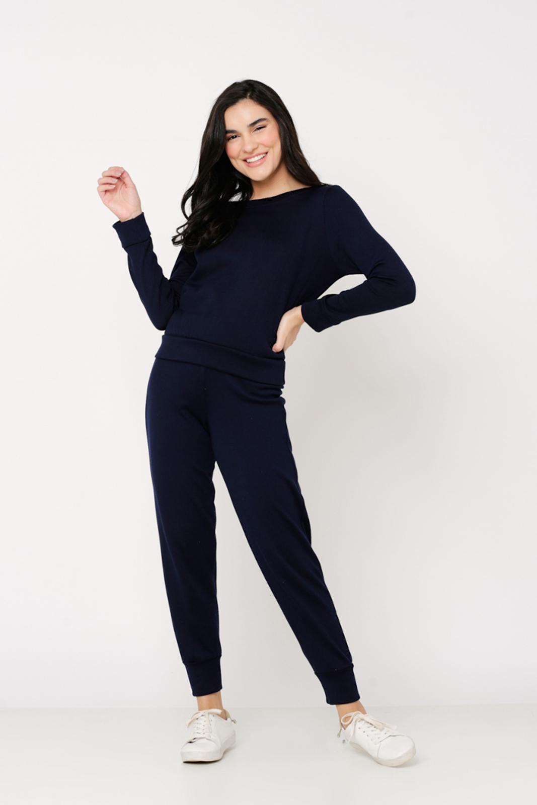 Conjunto Ralm Tricot  blusa manga longa e calça jogger - Marinho