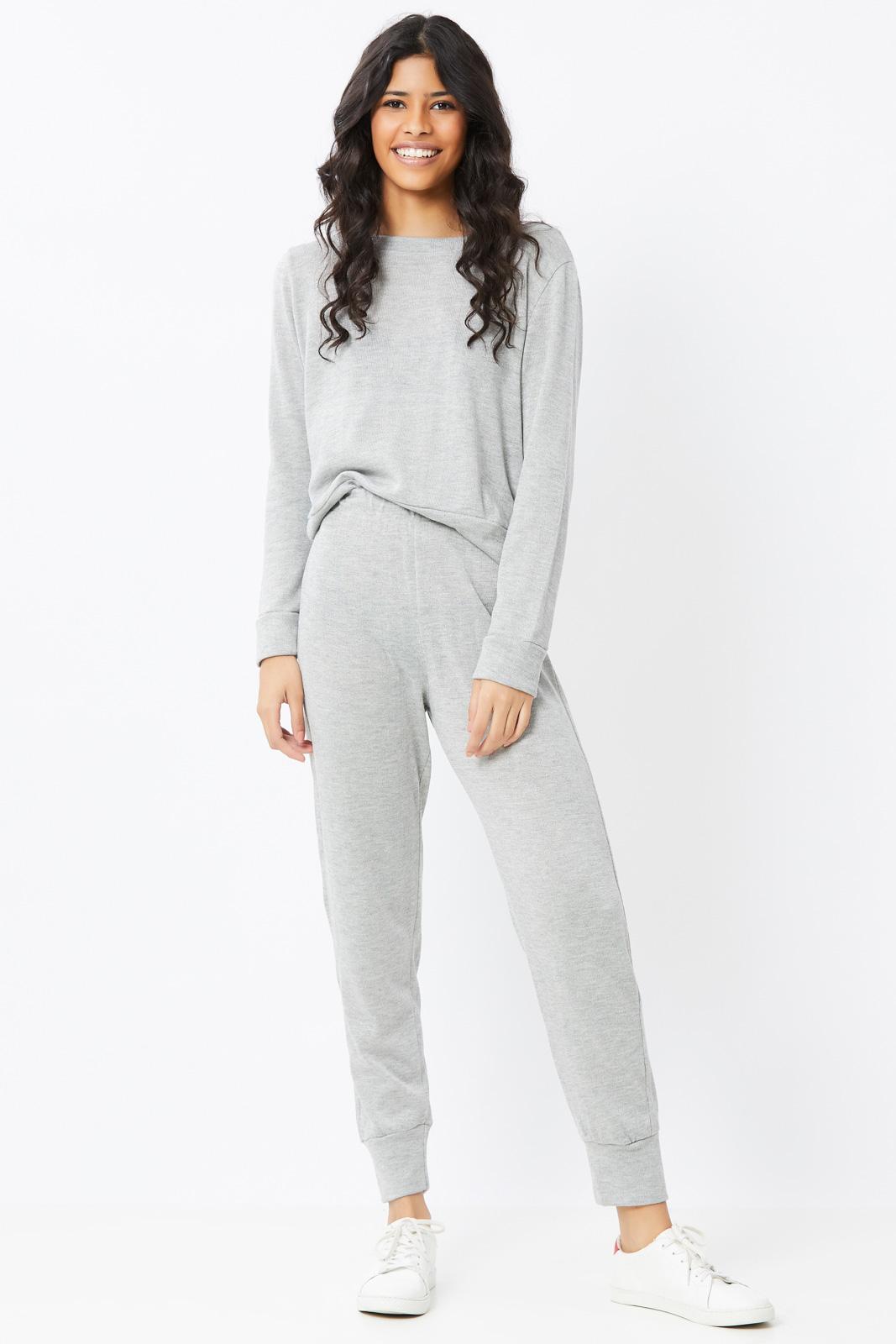 Conjunto Ralm Tricot  blusa manga longa e calça jogger - Cinza