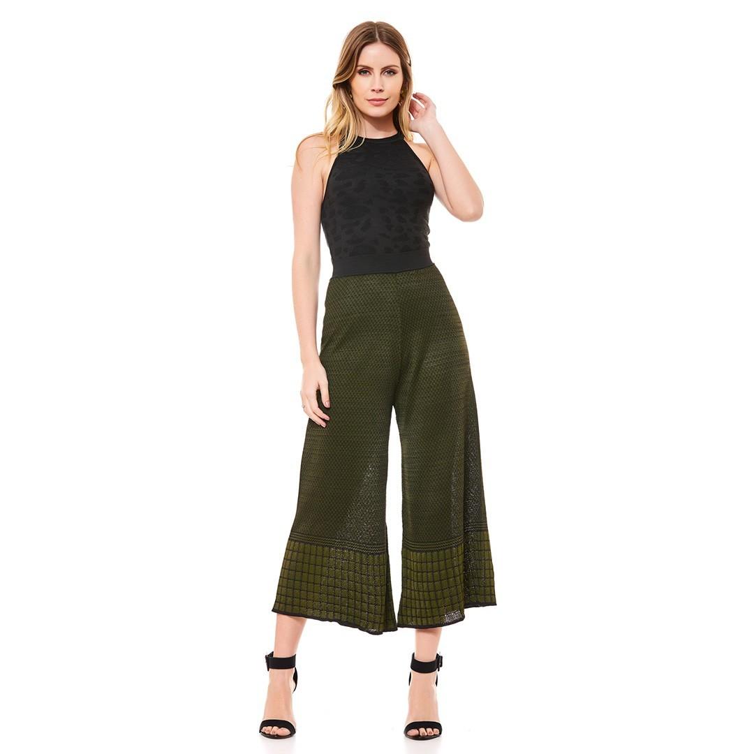 Conjunto Tricot  blusa + calça pantacourt - Preto