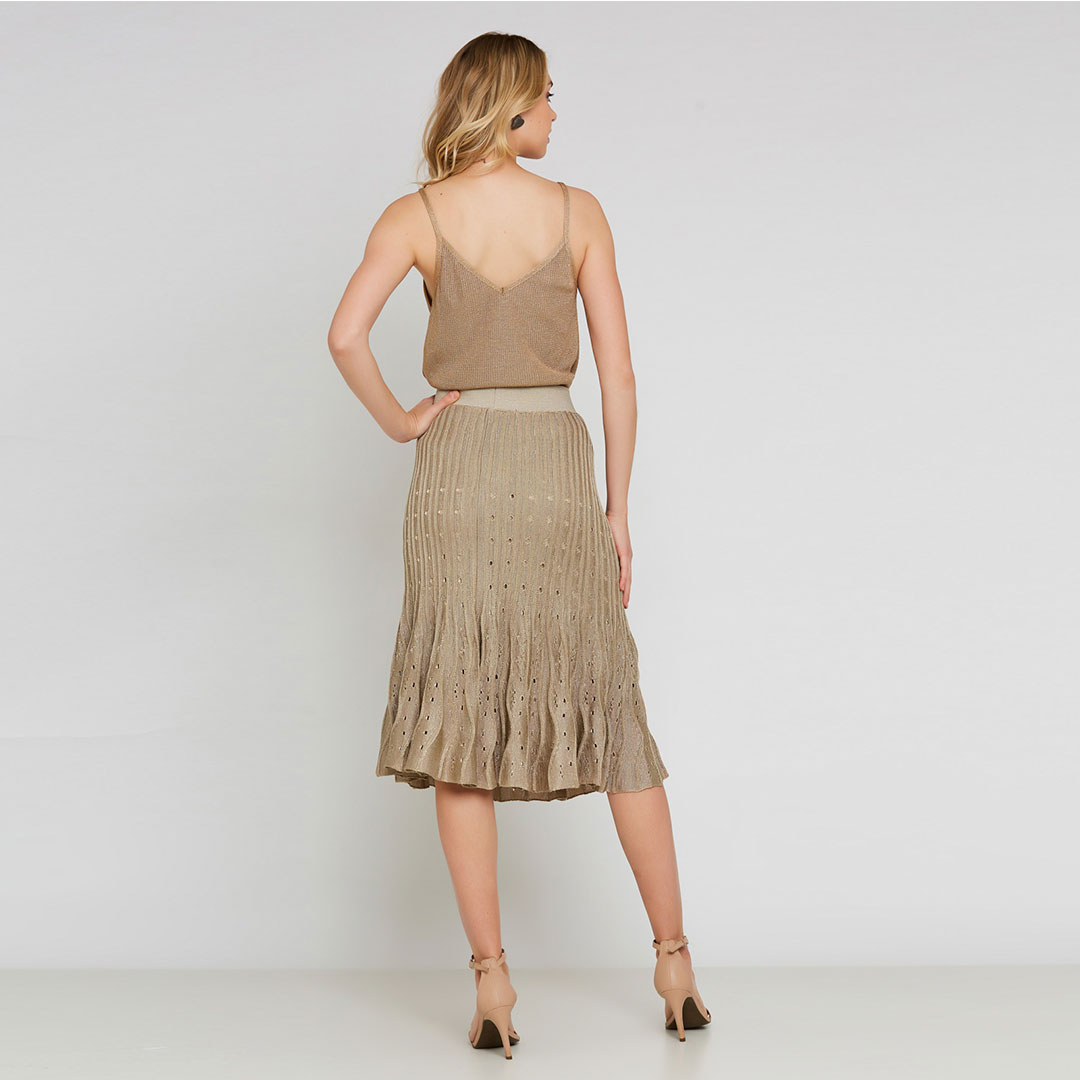 Conjunto Tricot blusa + saia midi plissada - Dourado