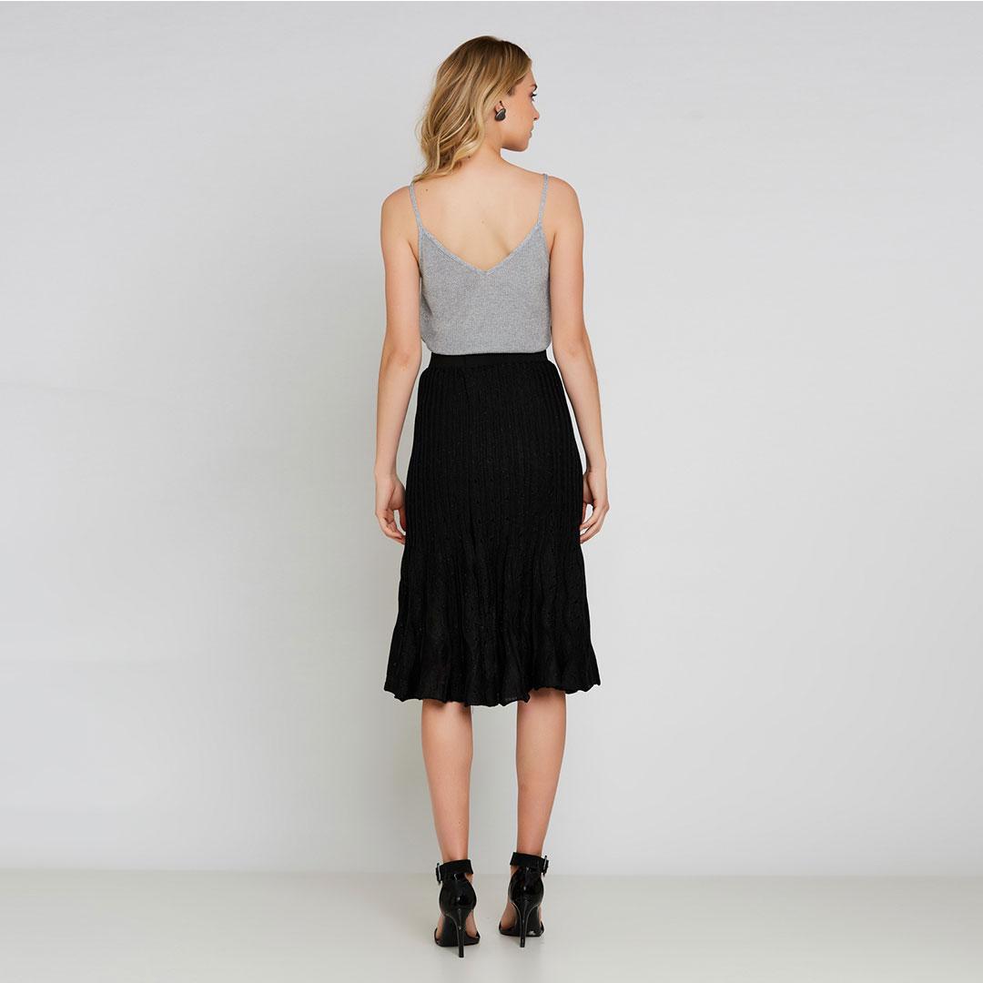 Conjunto Tricot blusa + saia midi plissada - Prata