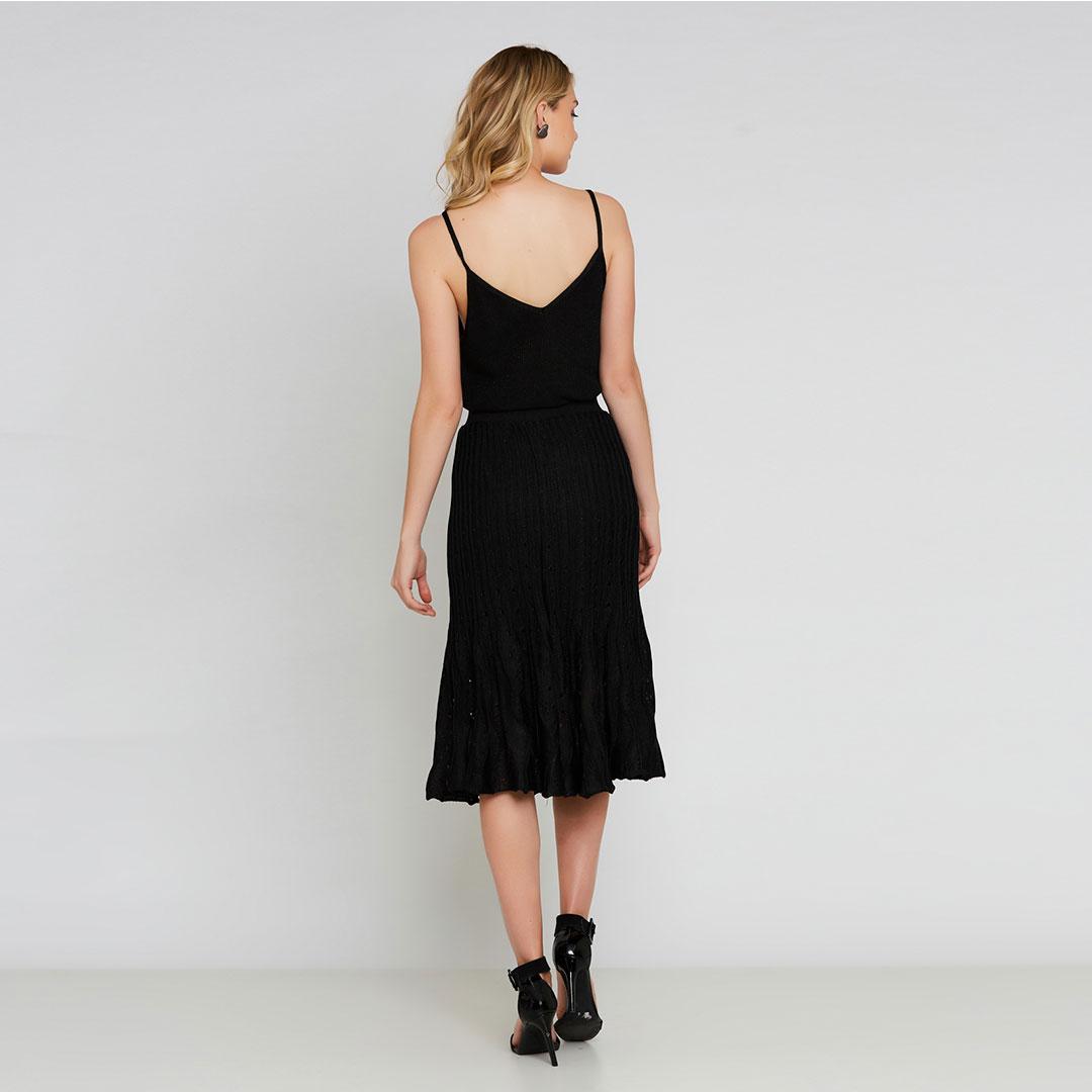 Conjunto Tricot blusa + saia midi plissada - Preto