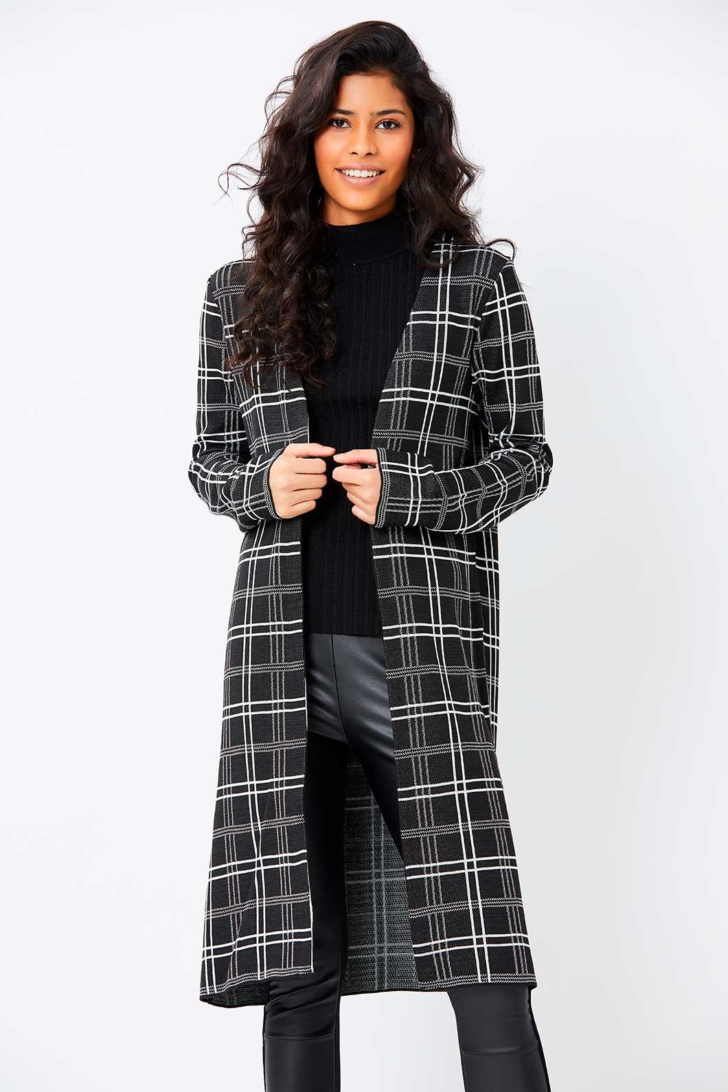Maxi casaco Ralm Tricot Xadrez