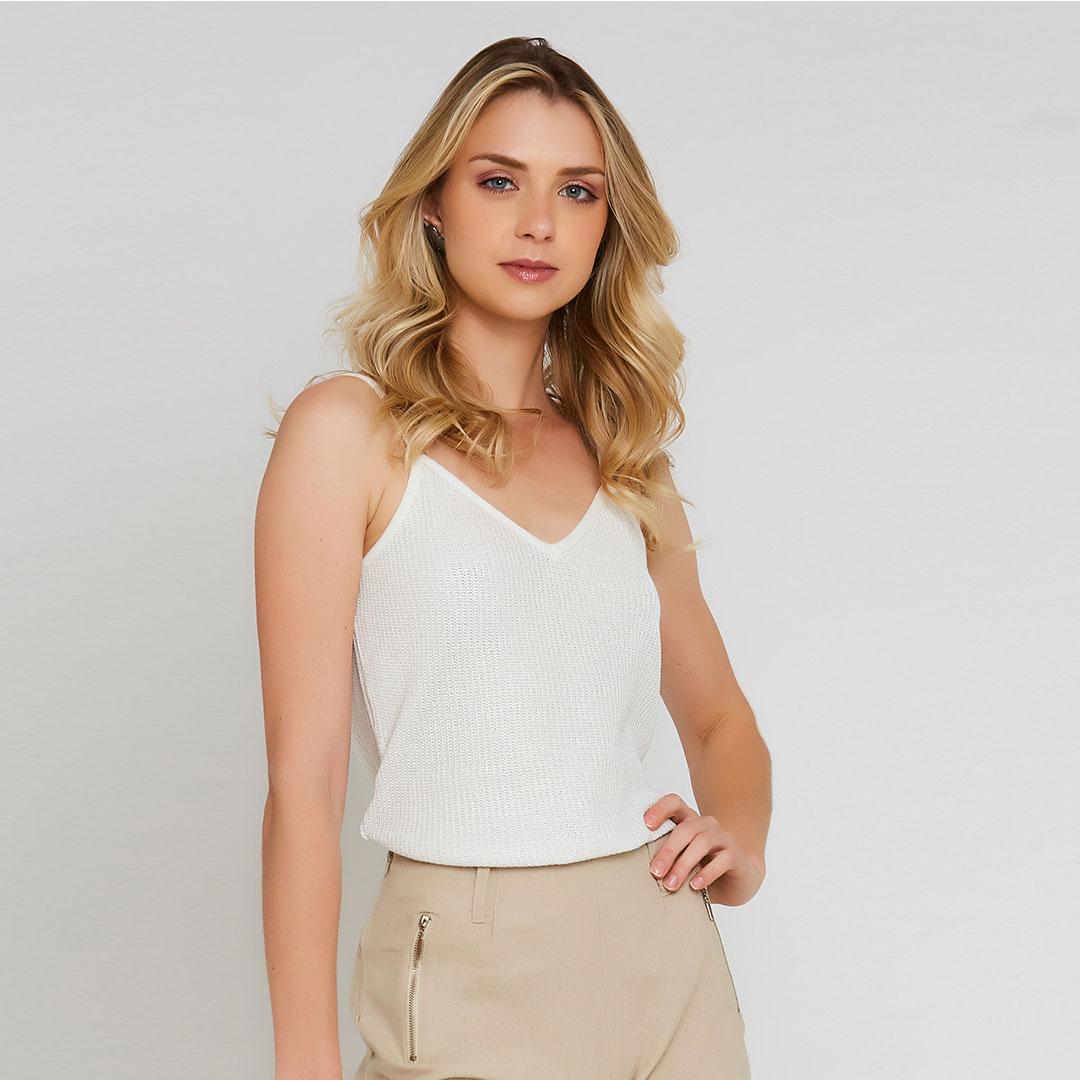 Regata foil alças finas - Branco