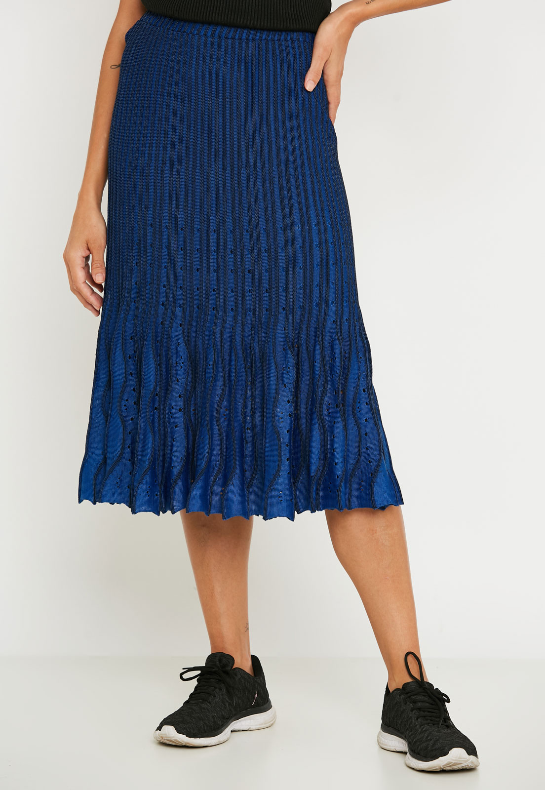 Saia ralm Midi tricot plissada nervuras - Azul