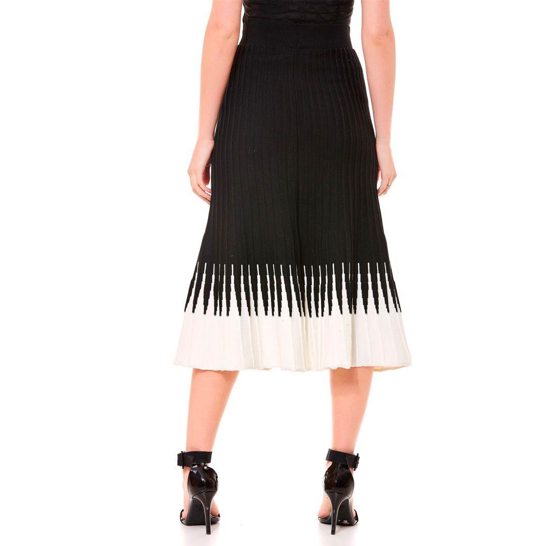 Saia tricot bicolor plissê - Preto