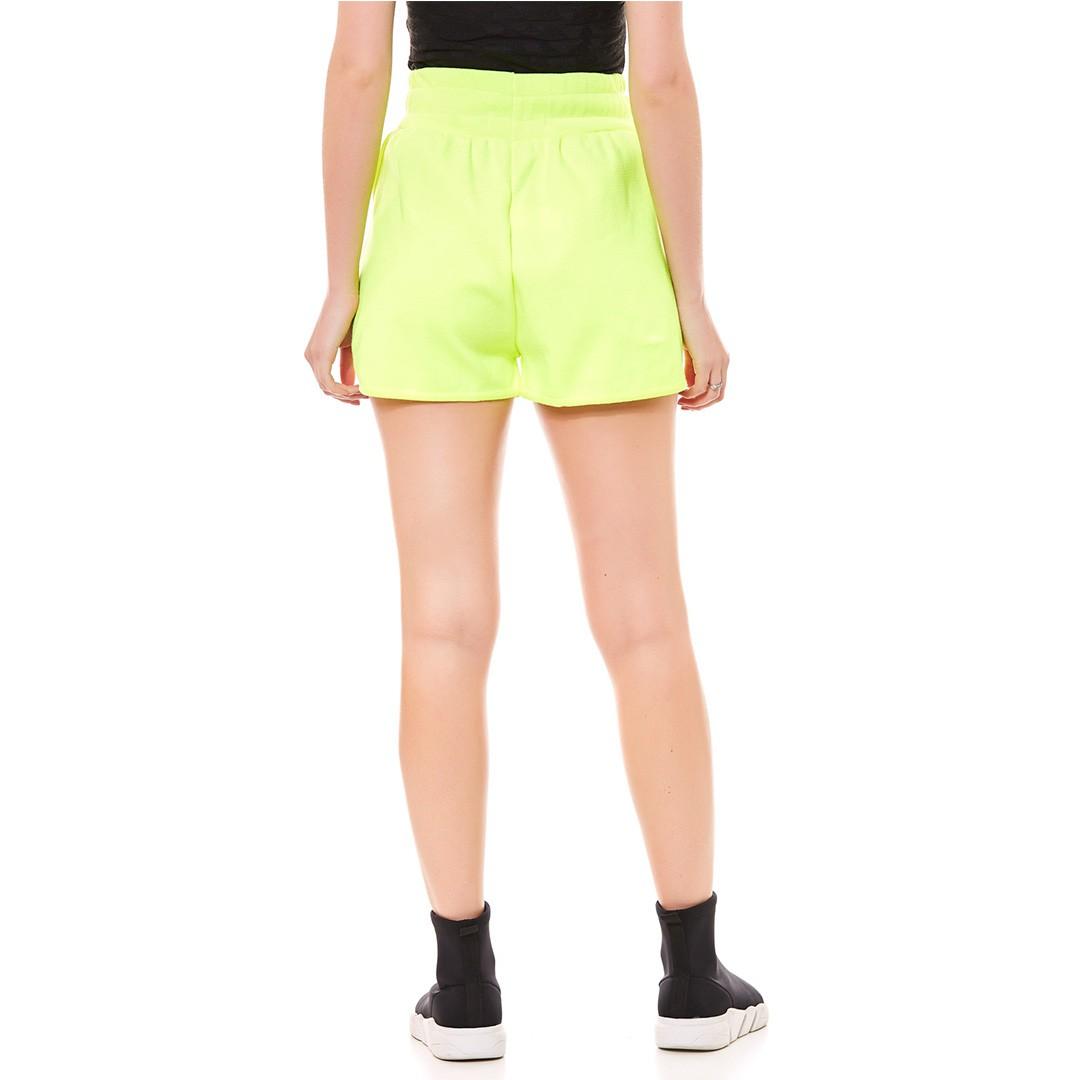 Shorts de Tricot com Ponteira - Amarelo flúor
