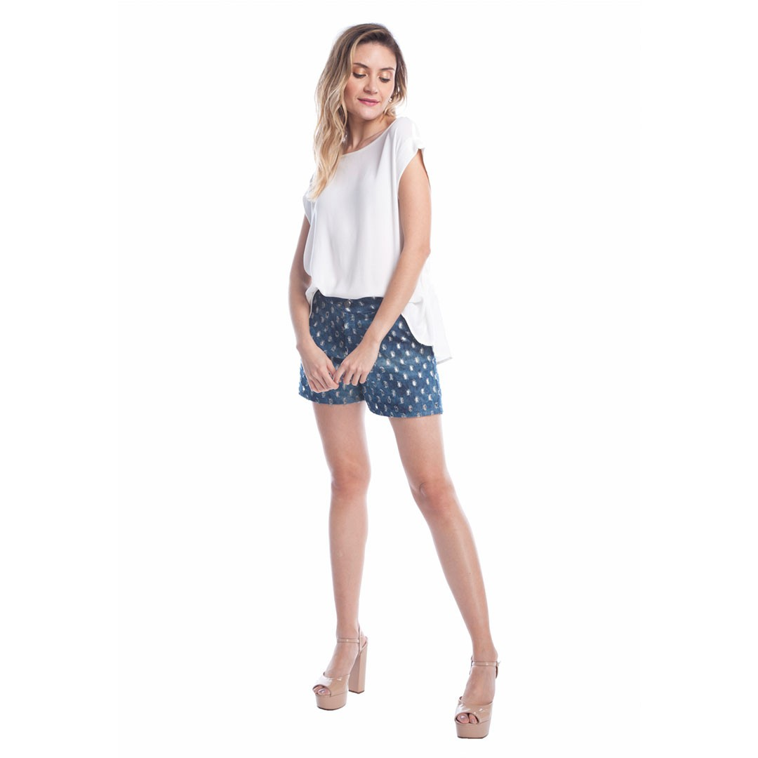 Shorts jeans furos - Marinho