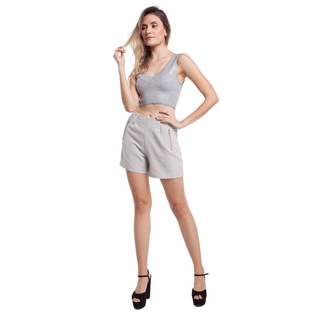 Shorts Linho - Cinza