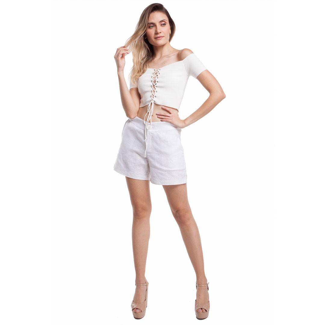 Shorts Linho Encerado - Branco