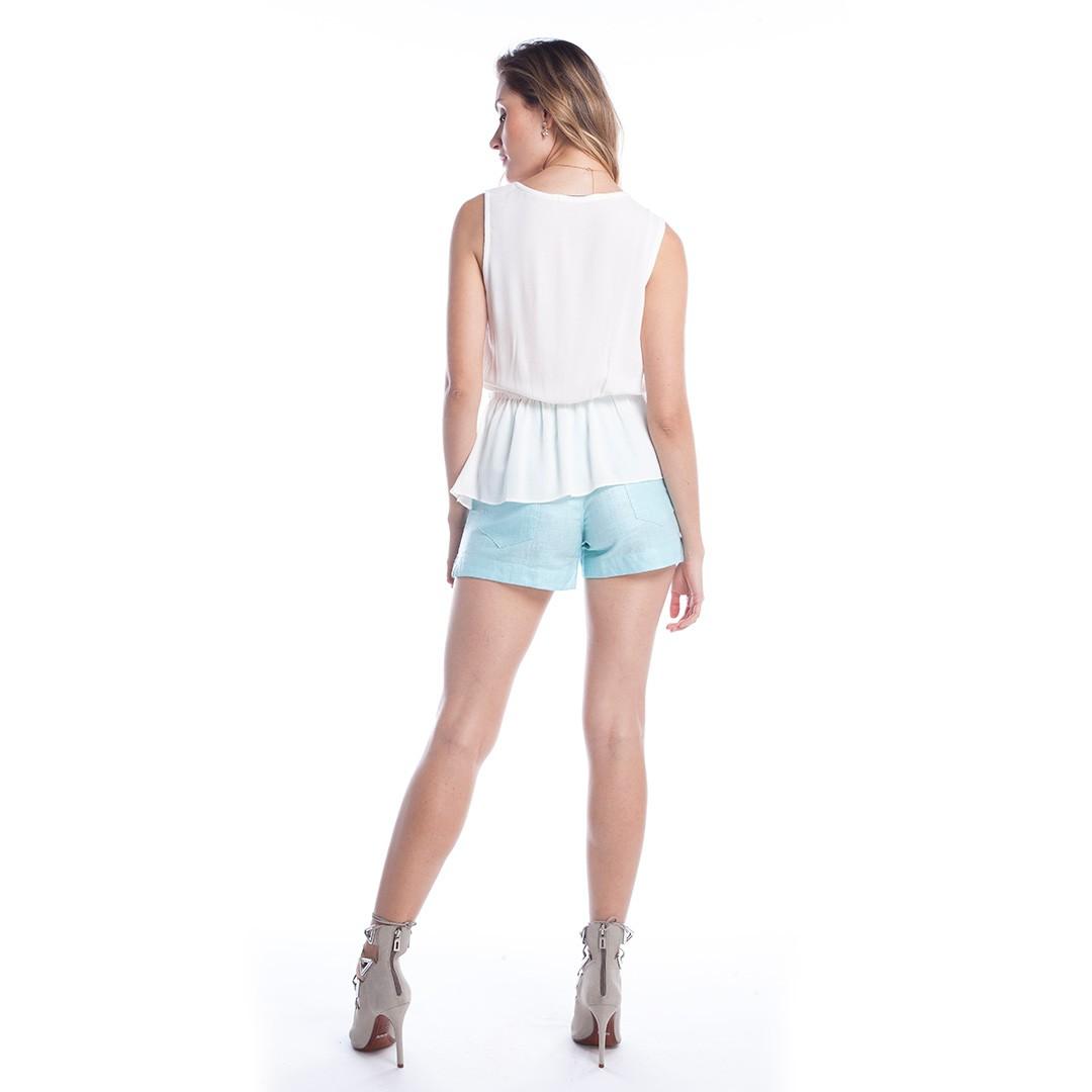 Shorts Linho Encerado - Azul