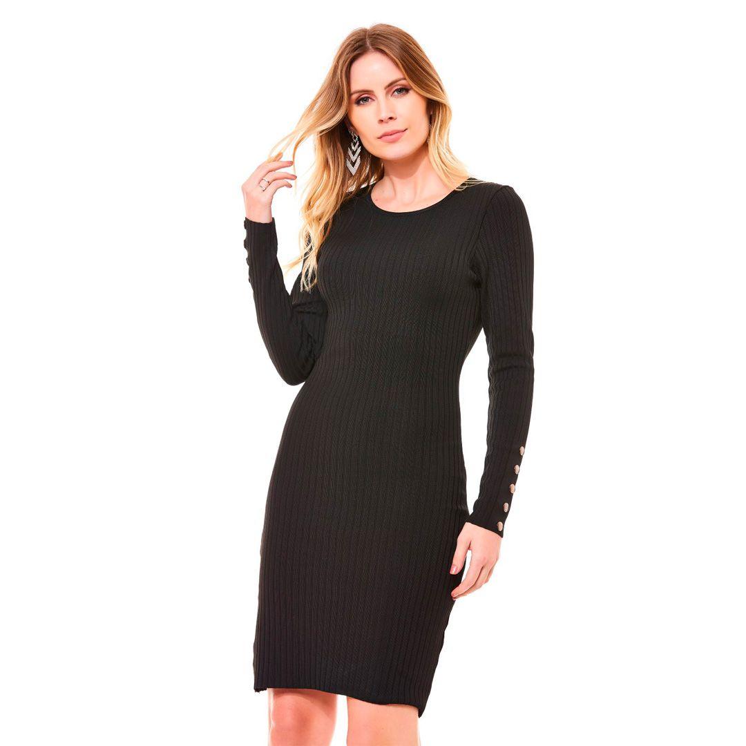 Vestido canelado tricot - Preto